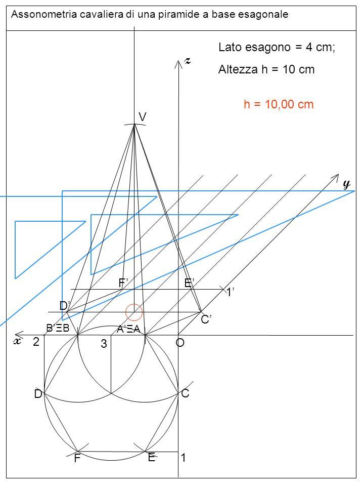 Assonometria cavaliera di una piramide a base esagonale Altezze e base superiore z y x Lato esagono = 4 cm; Altezza h = 10 cm O C D E F 1 C'C' 1'1' 2