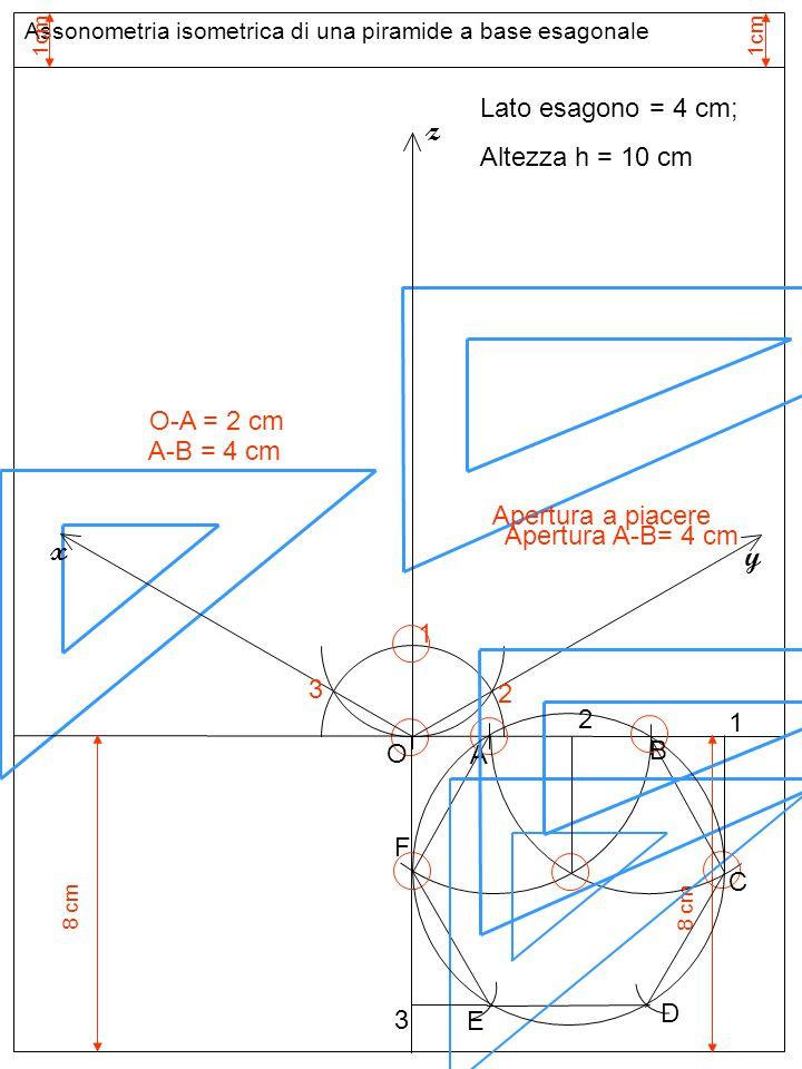 Assonometria cavaliera di una piramide a base esagonale Base inferiore z y x Lato esagono = 4 cm; Altezza h = 10 cm A B O C D E F LE MISURE DELLA LARGHEZZA (SULL'ASSE y) SI RIPORTANO RIDOTTE DELLA META'; dunque O-C' = (O-C)/2 e C'-1' = (C-1)/2 1 C'C' 1'1' 2 D'D' F'F' E'E' B'ΞBB'ΞB A'ΞAA'ΞA 3 2 2