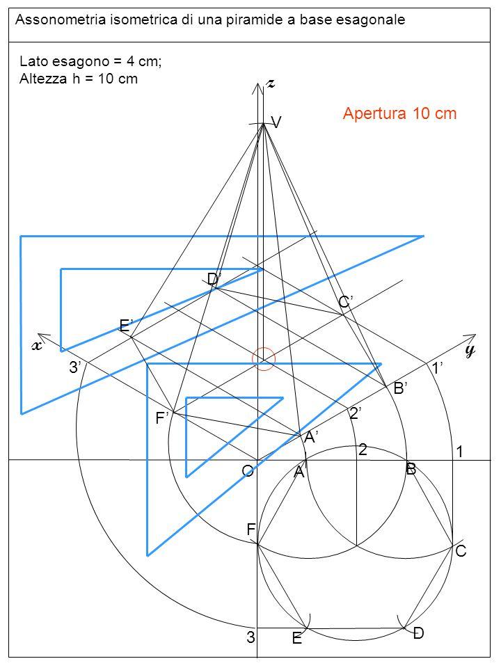 Assonometria isometrica di una piramide a base esagonale O z y x Lato esagono = 4 cm; Altezza h = 10 cm A B C D E F 1 2 A'A' B'B' 1'1' F'F' 3'3' E'E' D'D' C'C' linee 2 2'2' V