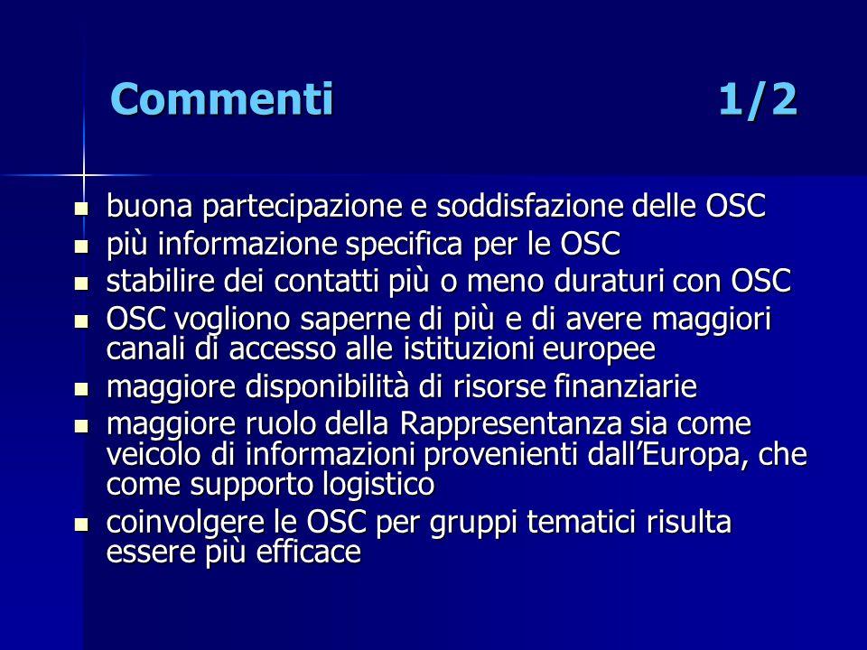 Commenti 1/2 buona partecipazione e soddisfazione delle OSC buona partecipazione e soddisfazione delle OSC più informazione specifica per le OSC più i