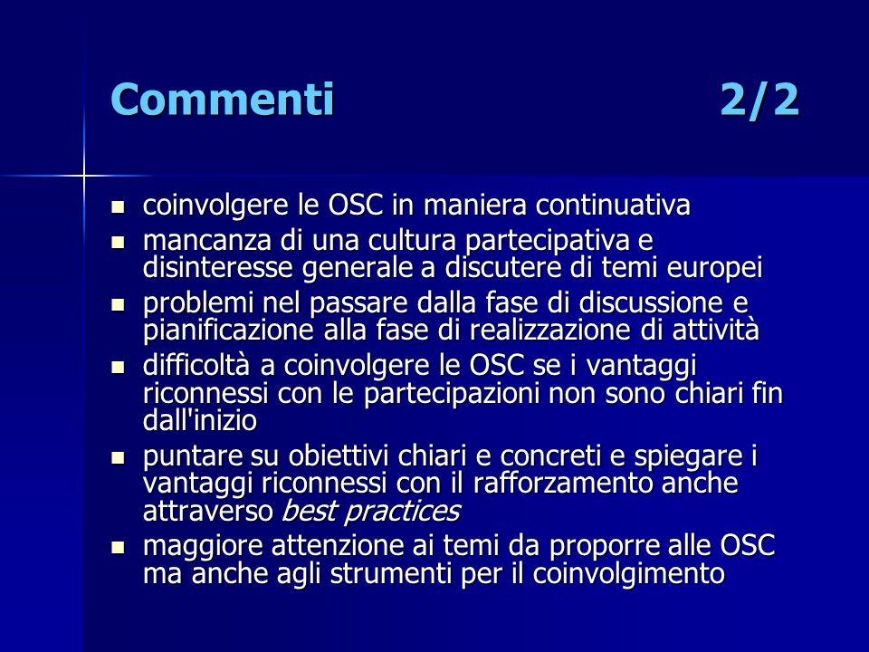 Commenti 2/2 coinvolgere le OSC in maniera continuativa coinvolgere le OSC in maniera continuativa mancanza di una cultura partecipativa e disinteress