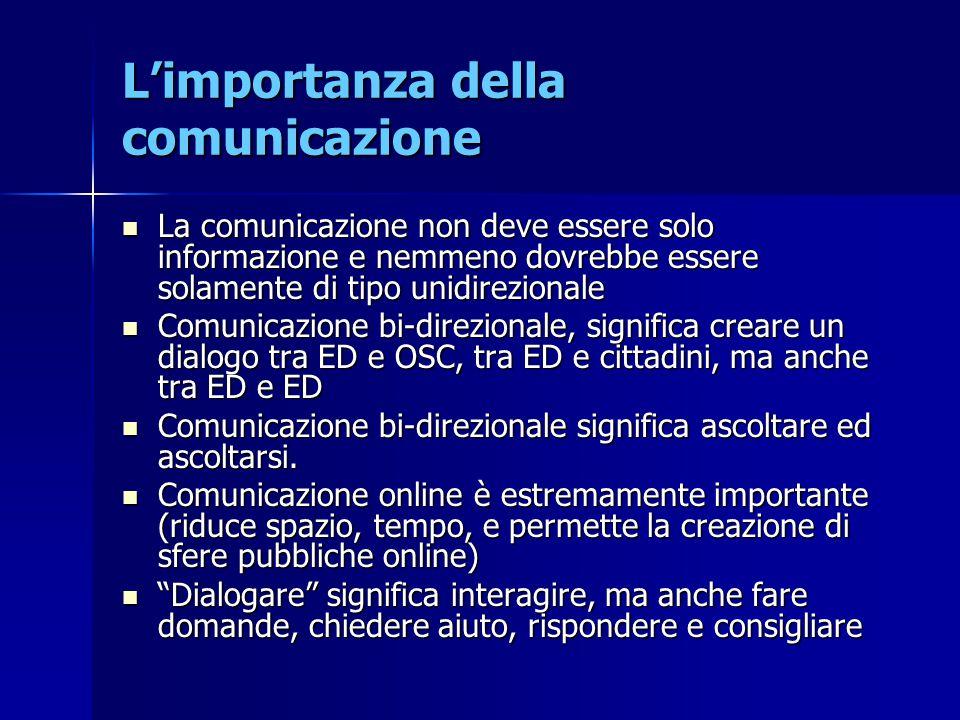 L'importanza della comunicazione La comunicazione non deve essere solo informazione e nemmeno dovrebbe essere solamente di tipo unidirezionale La comu