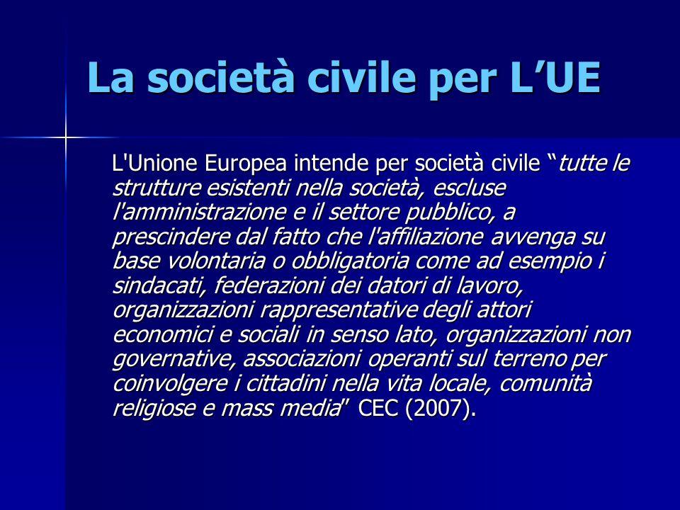 """La società civile per L'UE L'Unione Europea intende per società civile """"tutte le strutture esistenti nella società, escluse l'amministrazione e il set"""