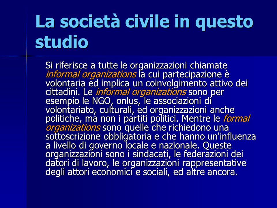 La società civile in questo studio Si riferisce a tutte le organizzazioni chiamate informal organizations la cui partecipazione è volontaria ed implic