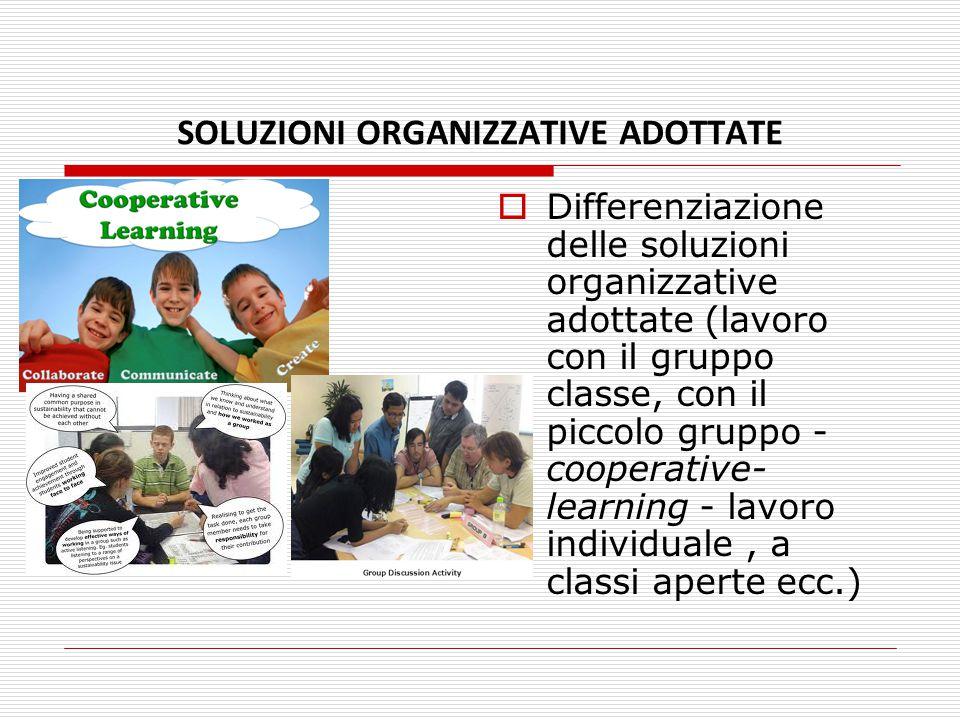 SOLUZIONI ORGANIZZATIVE ADOTTATE  Differenziazione delle soluzioni organizzative adottate (lavoro con il gruppo classe, con il piccolo gruppo - coope