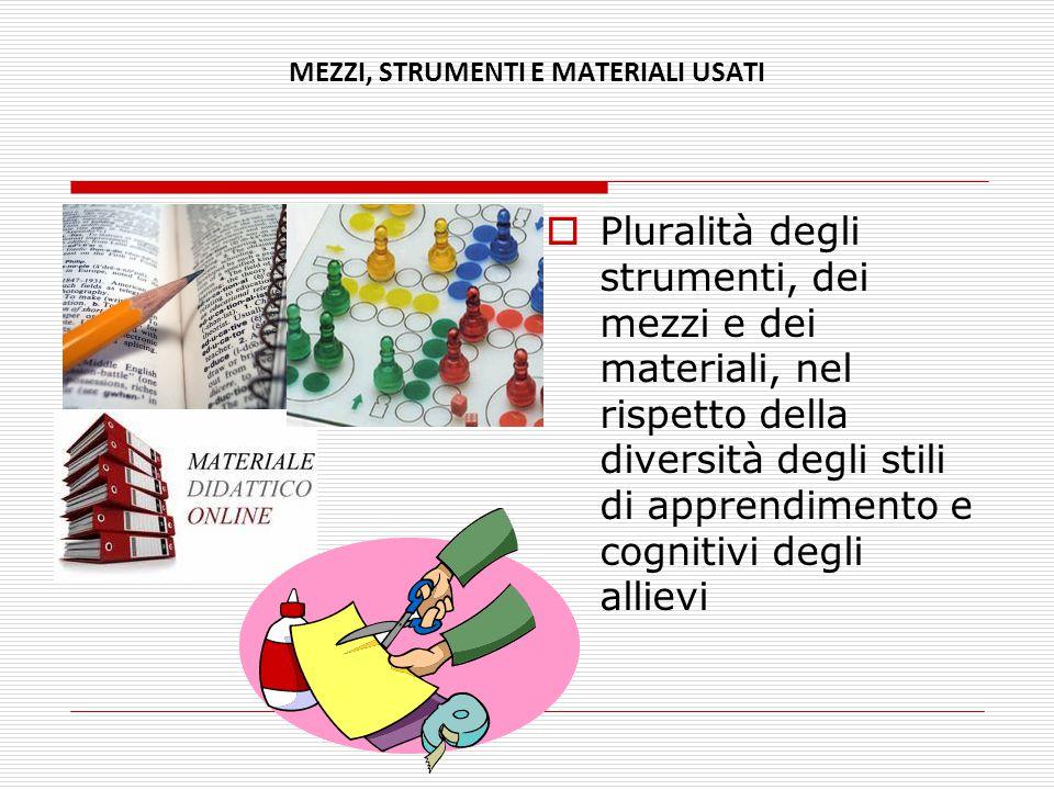 MEZZI, STRUMENTI E MATERIALI USATI  Pluralità degli strumenti, dei mezzi e dei materiali, nel rispetto della diversità degli stili di apprendimento e