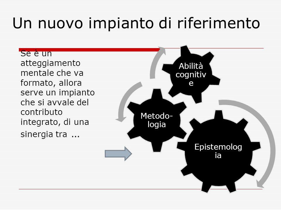 Un nuovo impianto di riferimento Se è un atteggiamento mentale che va formato, allora serve un impianto che si avvale del contributo integrato, di una