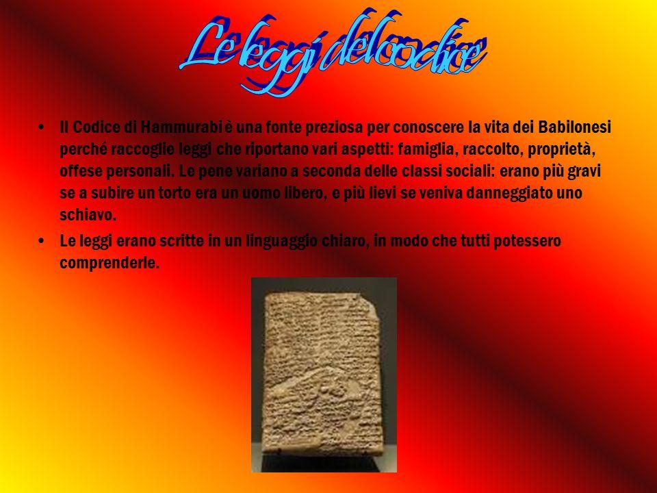 Il Codice di Hammurabi è una fonte preziosa per conoscere la vita dei Babilonesi perché raccoglie leggi che riportano vari aspetti: famiglia, raccolto