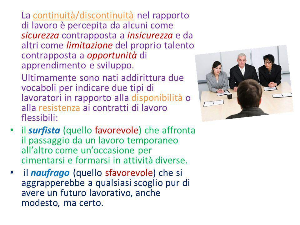 La continuità/discontinuità nel rapporto di lavoro è percepita da alcuni come sicurezza contrapposta a insicurezza e da altri come limitazione del pro