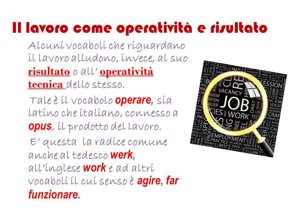 Il lavoro come operatività e risultato Alcuni vocaboli che riguardano il lavoro alludono, invece, al suo risultato o all' operatività tecnica dello st