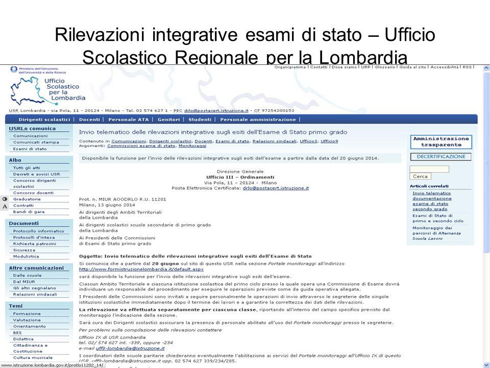 Rilevazioni integrative esami di stato – Ufficio Scolastico Regionale per la Lombardia