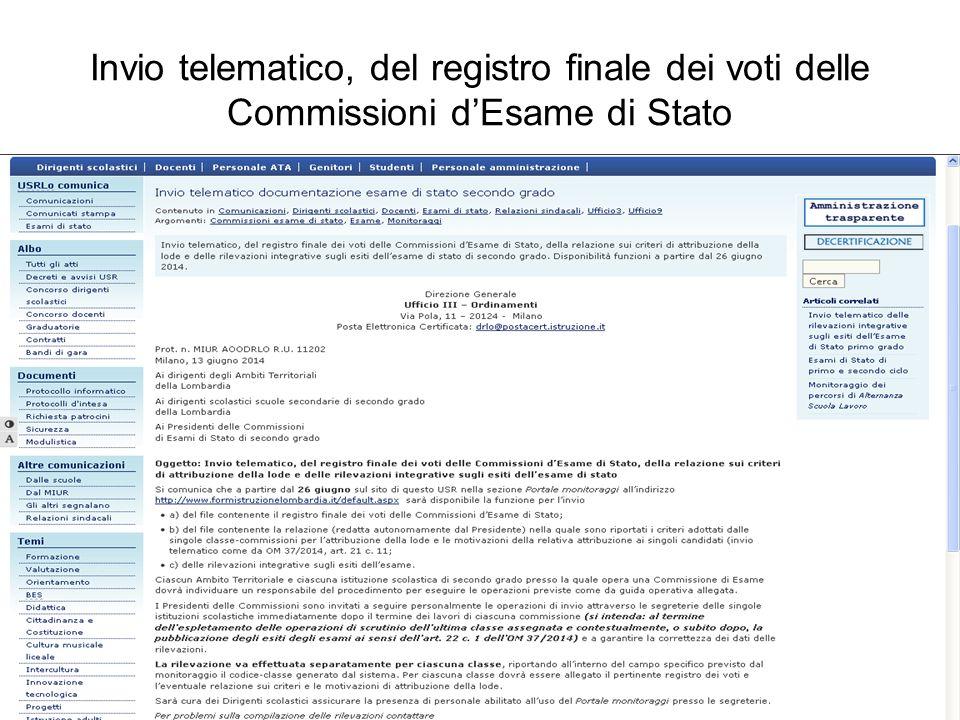 Invio telematico, del registro finale dei voti delle Commissioni d'Esame di Stato