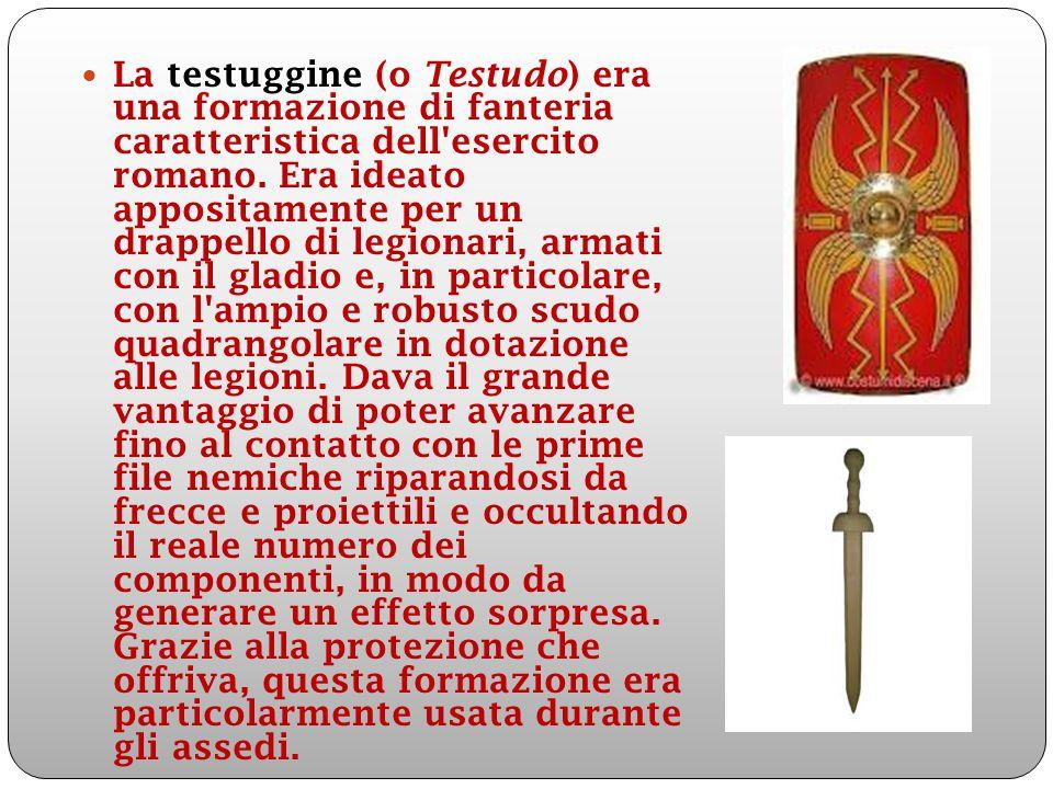 La testuggine (o Testudo) era una formazione di fanteria caratteristica dell'esercito romano. Era ideato appositamente per un drappello di legionari,