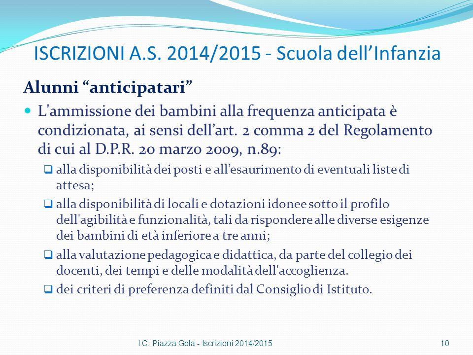 """ISCRIZIONI A.S. 2014/2015 - Scuola dell'Infanzia Alunni """"anticipatari"""" L'ammissione dei bambini alla frequenza anticipata è condizionata, ai sensi del"""