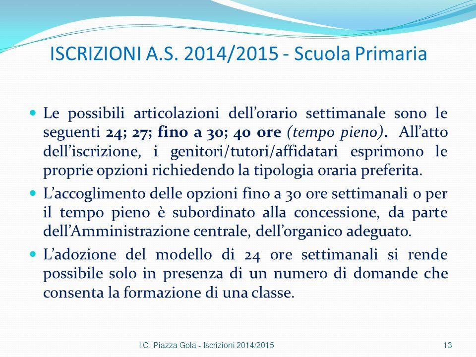 ISCRIZIONI A.S. 2014/2015 - Scuola Primaria Le possibili articolazioni dell'orario settimanale sono le seguenti 24; 27; fino a 30; 40 ore (tempo pieno