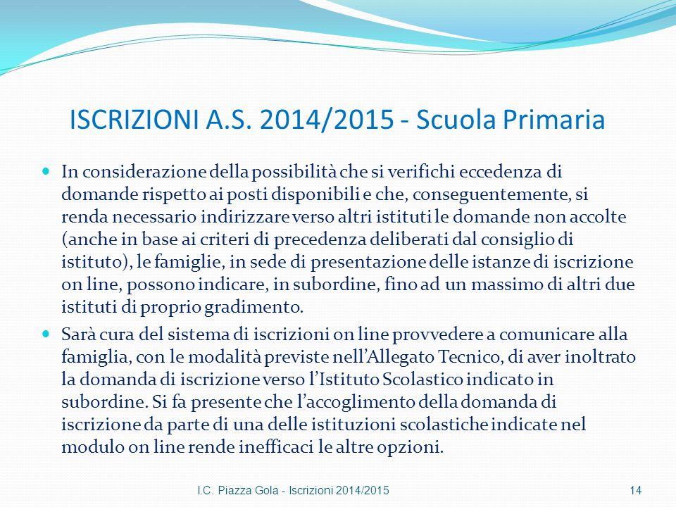 ISCRIZIONI A.S. 2014/2015 - Scuola Primaria In considerazione della possibilità che si verifichi eccedenza di domande rispetto ai posti disponibili e