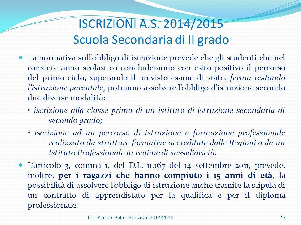 ISCRIZIONI A.S. 2014/2015 Scuola Secondaria di II grado La normativa sull'obbligo di istruzione prevede che gli studenti che nel corrente anno scolast