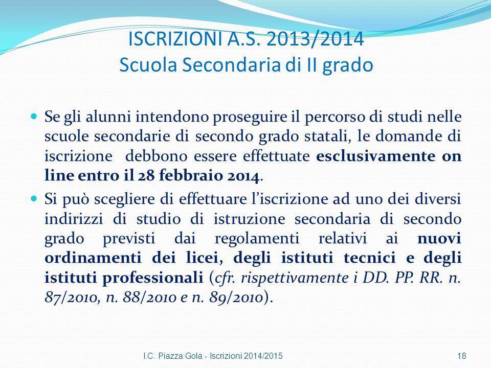 ISCRIZIONI A.S. 2013/2014 Scuola Secondaria di II grado Se gli alunni intendono proseguire il percorso di studi nelle scuole secondarie di secondo gra