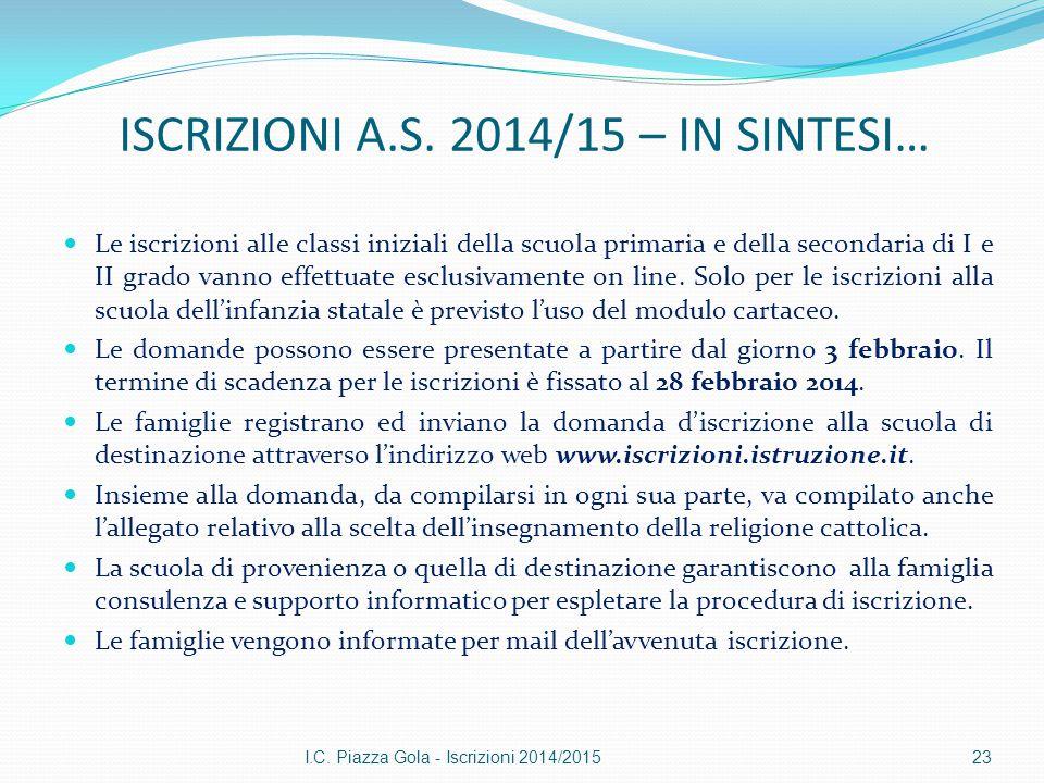 ISCRIZIONI A.S. 2014/15 – IN SINTESI… Le iscrizioni alle classi iniziali della scuola primaria e della secondaria di I e II grado vanno effettuate esc
