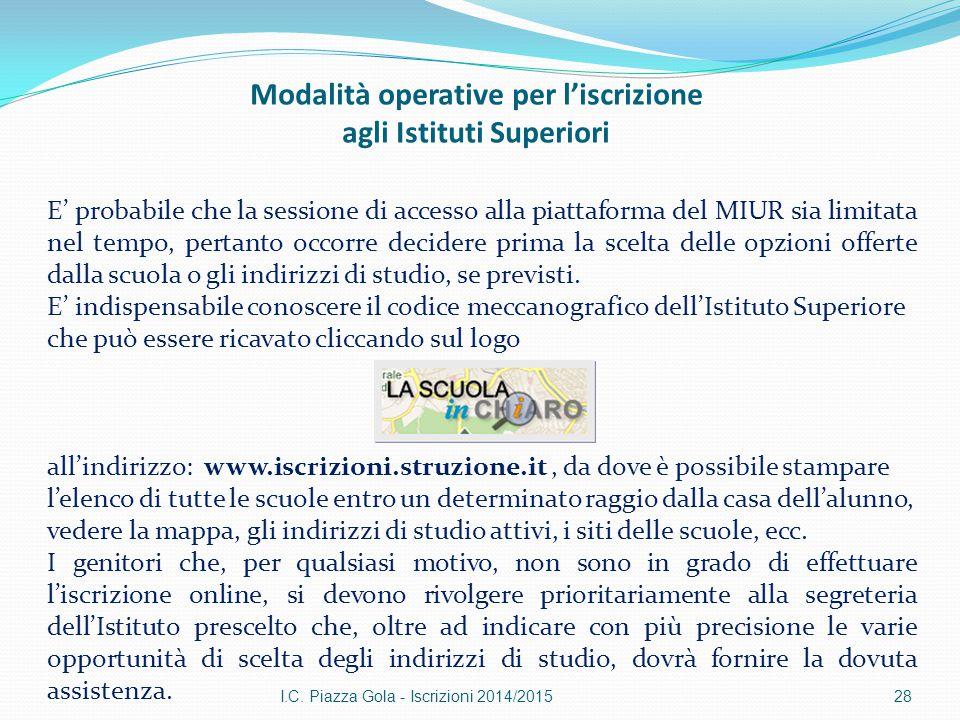Modalità operative per l'iscrizione agli Istituti Superiori I.C. Piazza Gola - Iscrizioni 2014/201528 E' probabile che la sessione di accesso alla pia