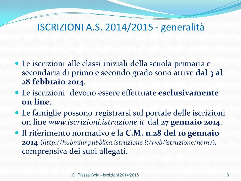 ISCRIZIONI A.S. 2014/2015 - generalità Le iscrizioni alle classi iniziali della scuola primaria e secondaria di primo e secondo grado sono attive dal