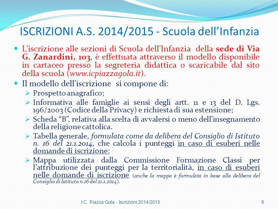 ISCRIZIONI A.S. 2014/2015 - Scuola dell'Infanzia L'iscrizione alle sezioni di Scuola dell'Infanzia della sede di Via G. Zanardini, 103, è effettuata a