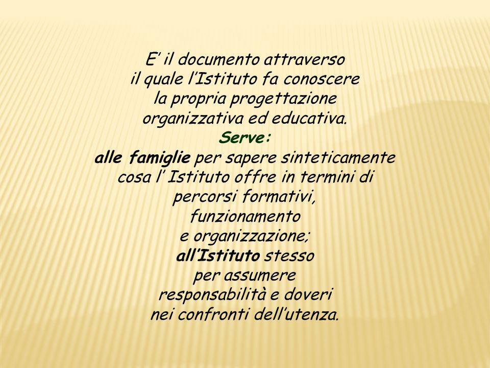 E' il documento attraverso il quale l'Istituto fa conoscere la propria progettazione organizzativa ed educativa.