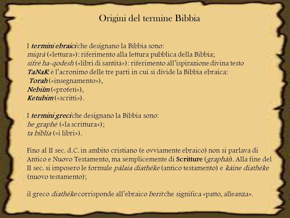 Origini del termine Bibbia I termini ebraici che designano la Bibbia sono: miqrà («lettura»): riferimento alla lettura pubblica della Bibbia; sifrè ha