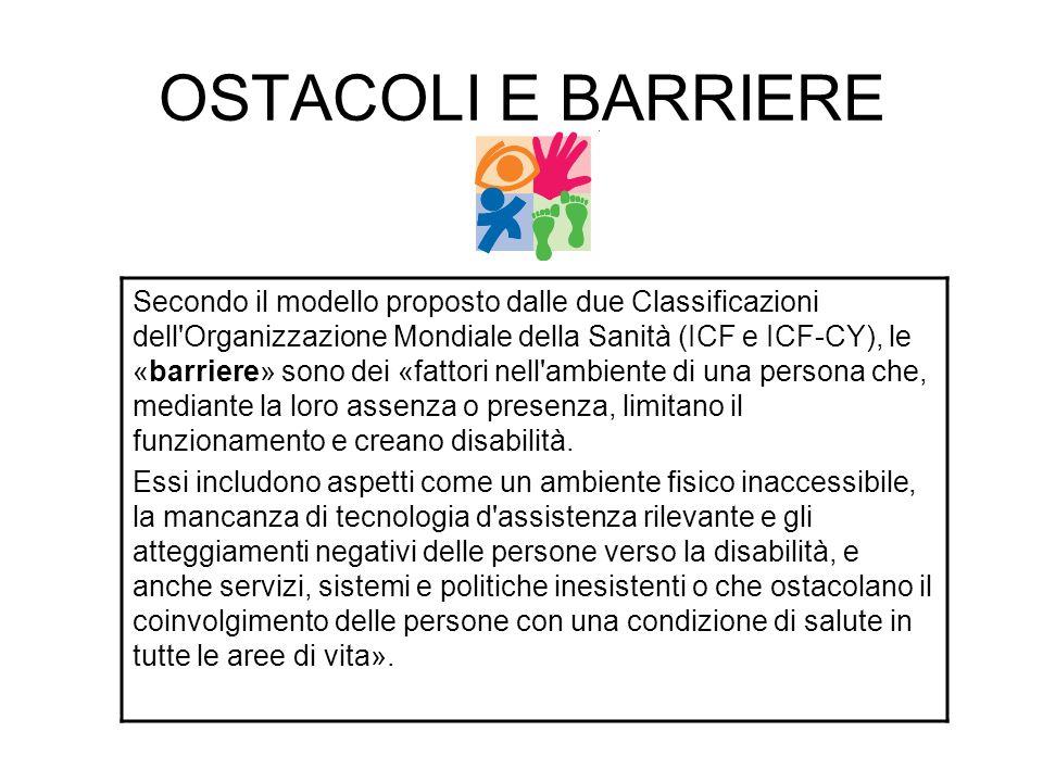 OSTACOLI E BARRIERE Secondo il modello proposto dalle due Classificazioni dell'Organizzazione Mondiale della Sanità (ICF e ICF-CY), le «barriere» sono