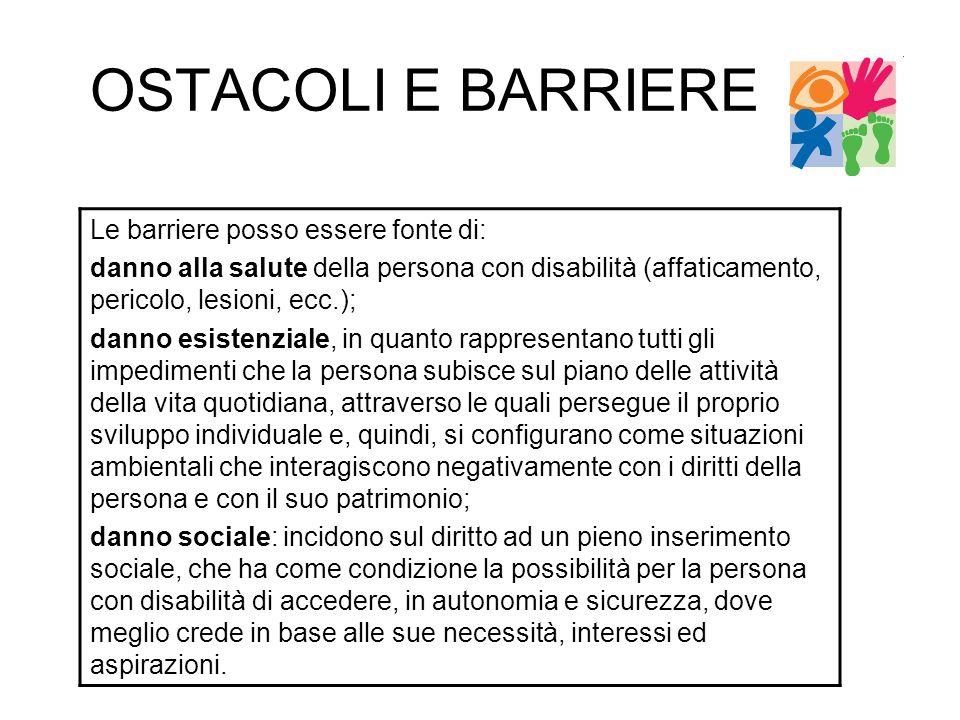OSTACOLI E BARRIERE Le barriere posso essere fonte di: danno alla salute della persona con disabilità (affaticamento, pericolo, lesioni, ecc.); danno