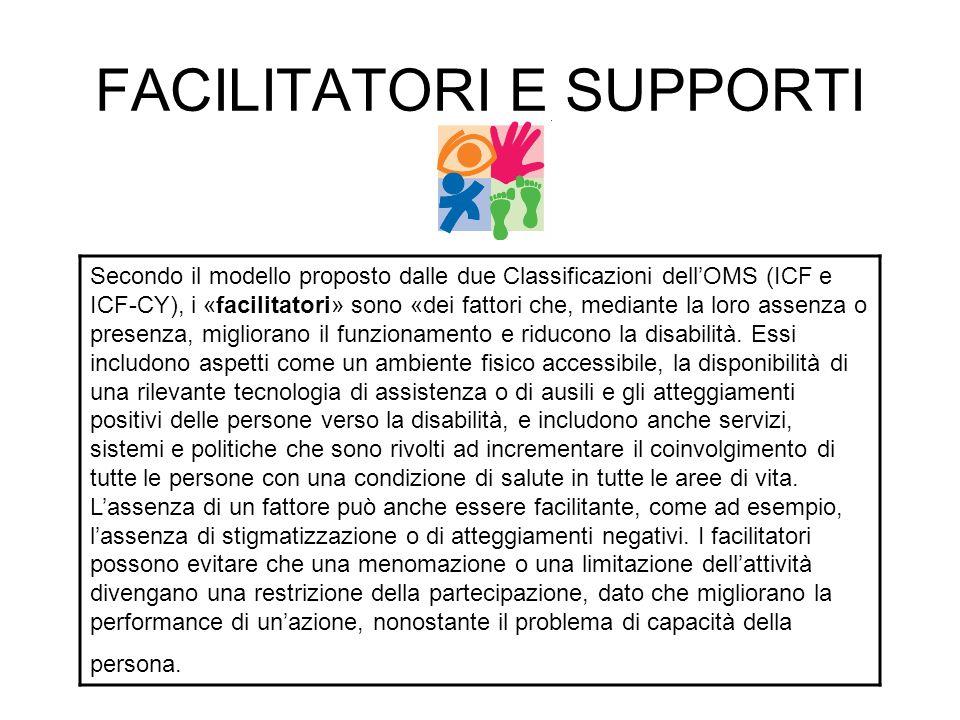 FACILITATORI E SUPPORTI Secondo il modello proposto dalle due Classificazioni dell'OMS (ICF e ICF-CY), i «facilitatori» sono «dei fattori che, mediant