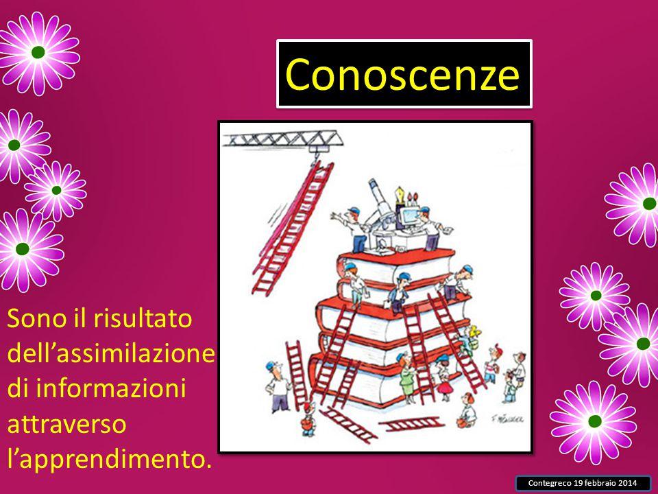Contegreco 19 febbraio 2014 Conoscenze Sono il risultato dell'assimilazione di informazioni attraverso l'apprendimento.
