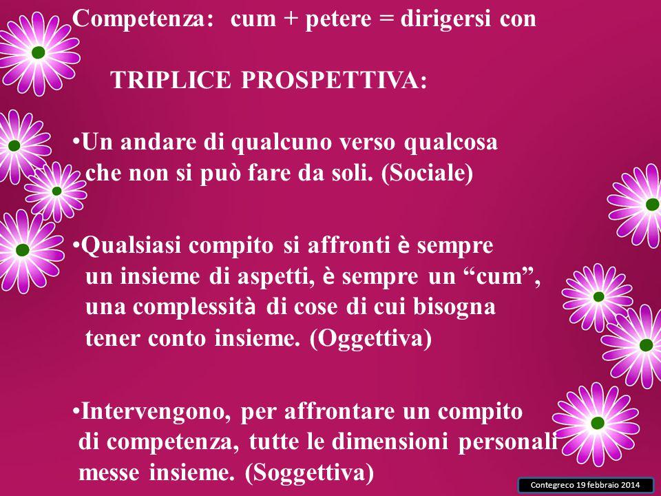 Contegreco 19 febbraio 2014 Competenza: cum + petere = dirigersi con TRIPLICE PROSPETTIVA: Un andare di qualcuno verso qualcosa che non si può fare da soli.