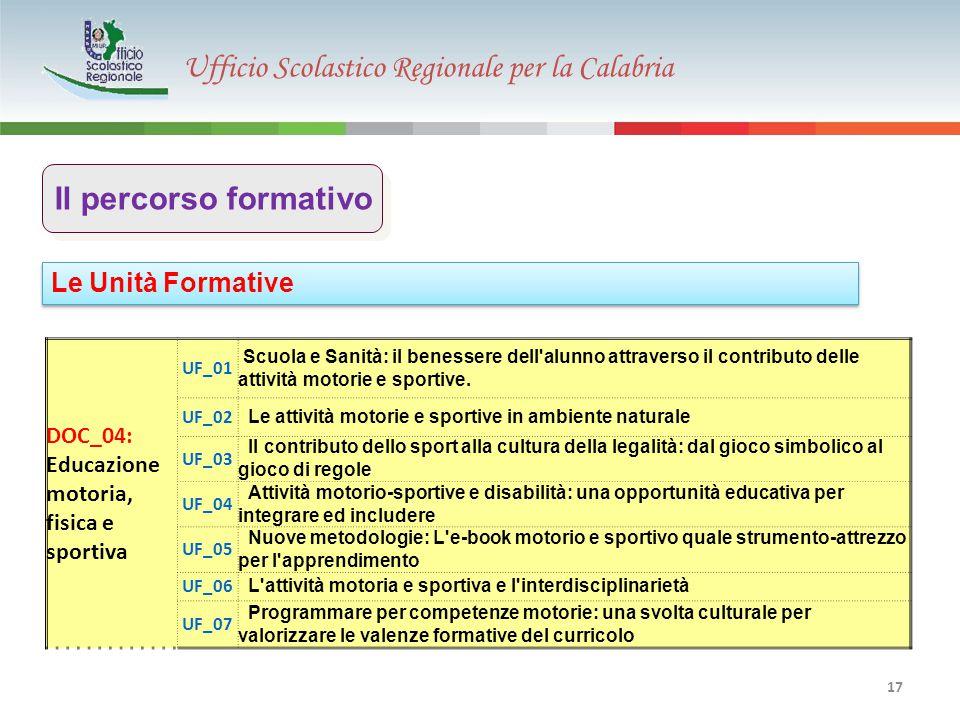 Ufficio Scolastico Regionale per la Calabria 17 Le Unità Formative Il percorso formativo DOC_04: Educazione motoria, fisica e sportiva UF_01 Scuola e Sanità: il benessere dell alunno attraverso il contributo delle attività motorie e sportive.
