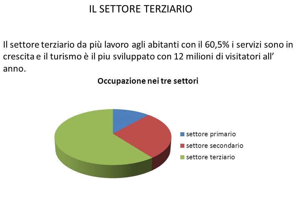IL SETTORE TERZIARIO Il settore terziario da più lavoro agli abitanti con il 60,5% i servizi sono in crescita e il turismo è il piu sviluppato con 12 milioni di visitatori all' anno.