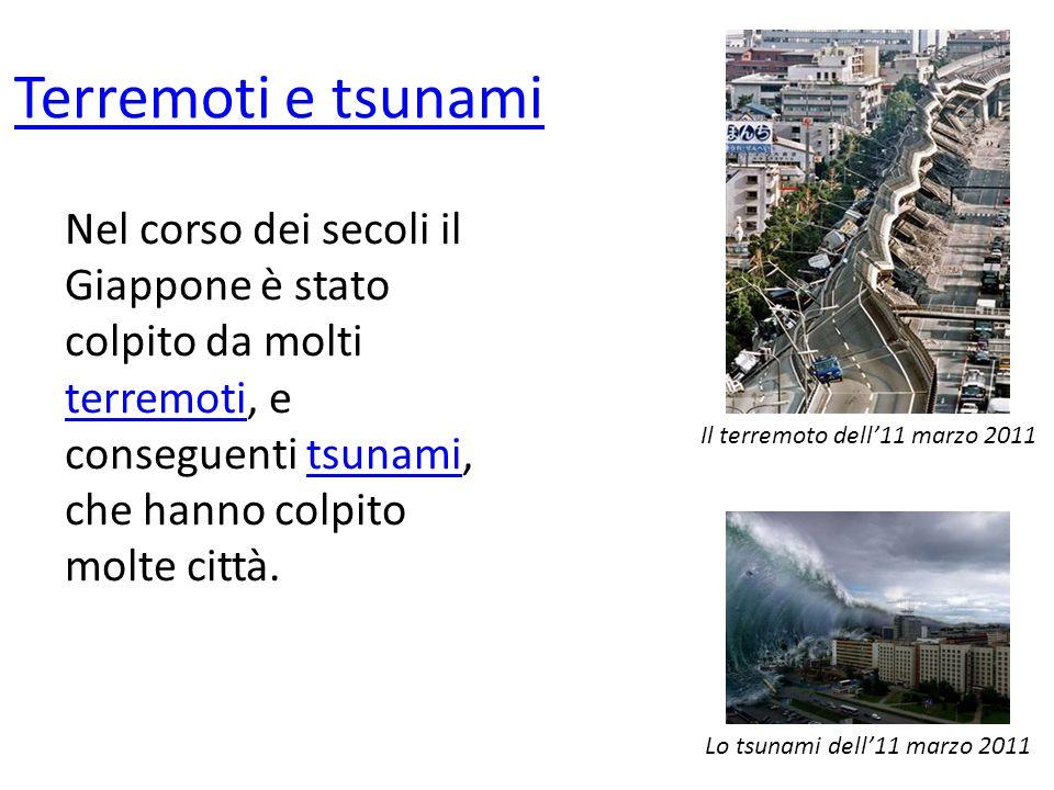 Terremoti e tsunami Nel corso dei secoli il Giappone è stato colpito da molti terremoti, e conseguenti tsunami, che hanno colpito molte città. terremo