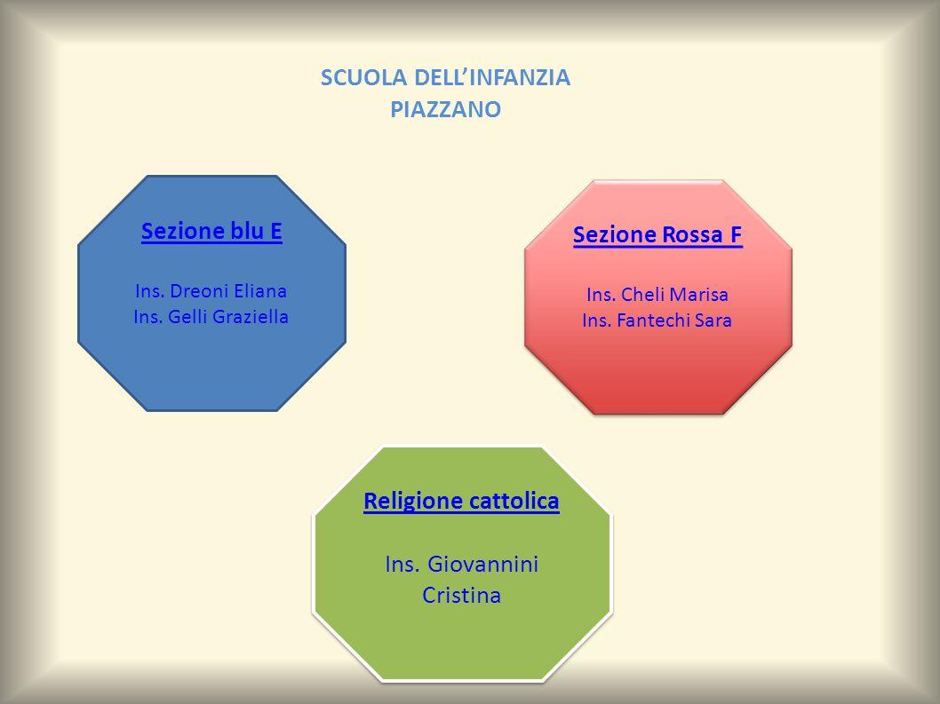 Sezione blu E Ins.Dreoni Eliana Ins. Gelli Graziella Religione cattolica Ins.