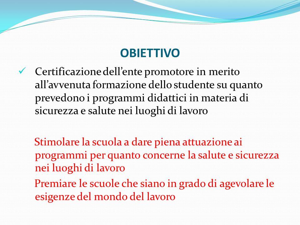 OBIETTIVO Certificazione dell'ente promotore in merito all'avvenuta formazione dello studente su quanto prevedono i programmi didattici in materia di