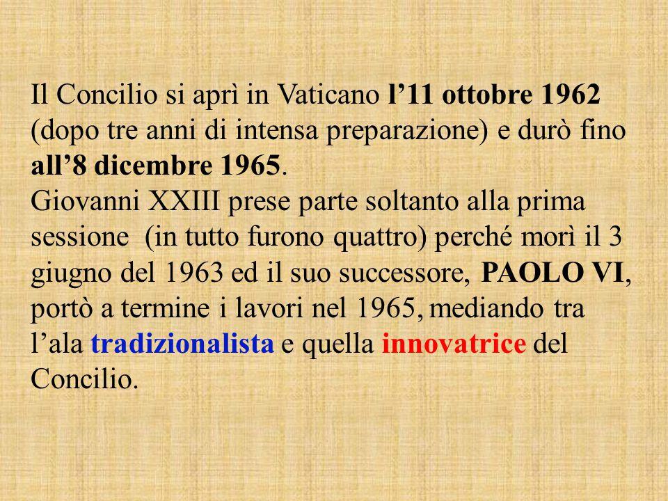 Il Concilio si aprì in Vaticano l'11 ottobre 1962 (dopo tre anni di intensa preparazione) e durò fino all'8 dicembre 1965. Giovanni XXIII prese parte
