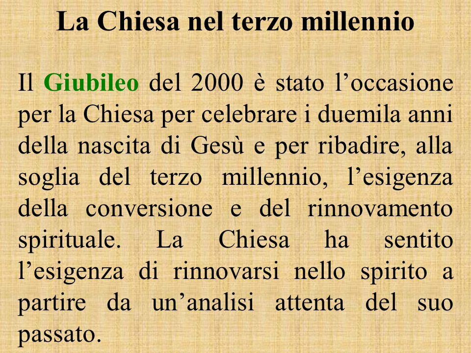 La Chiesa nel terzo millennio Il Giubileo del 2000 è stato l'occasione per la Chiesa per celebrare i duemila anni della nascita di Gesù e per ribadire