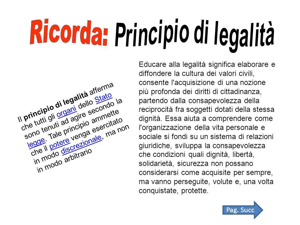 Il principio di legalità afferma che tutti gli organi dello Stato sono tenuti ad agire secondo la legge.