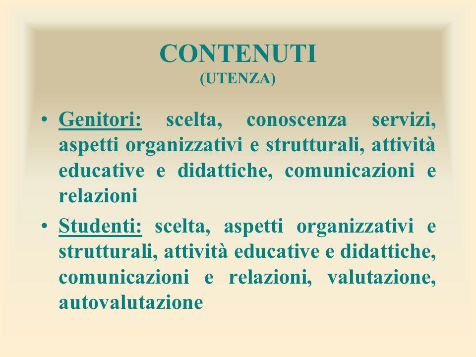 CONTENUTI (UTENZA) Genitori: scelta, conoscenza servizi, aspetti organizzativi e strutturali, attività educative e didattiche, comunicazioni e relazio