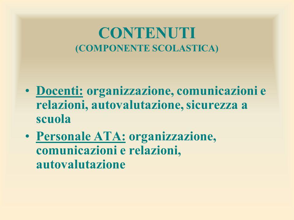 CONTENUTI (COMPONENTE SCOLASTICA) Docenti: organizzazione, comunicazioni e relazioni, autovalutazione, sicurezza a scuola Personale ATA: organizzazion