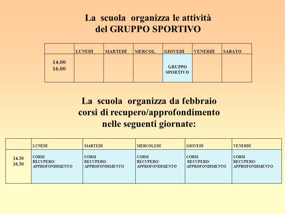 La scuola organizza le attività del GRUPPO SPORTIVO LUNEDÌ MARTEDÌ MERCOL. GIOVEDÌ VENERDÌ SABATO 14.00 16.00 GRUPPO SPORTIVO La scuola organizza da f