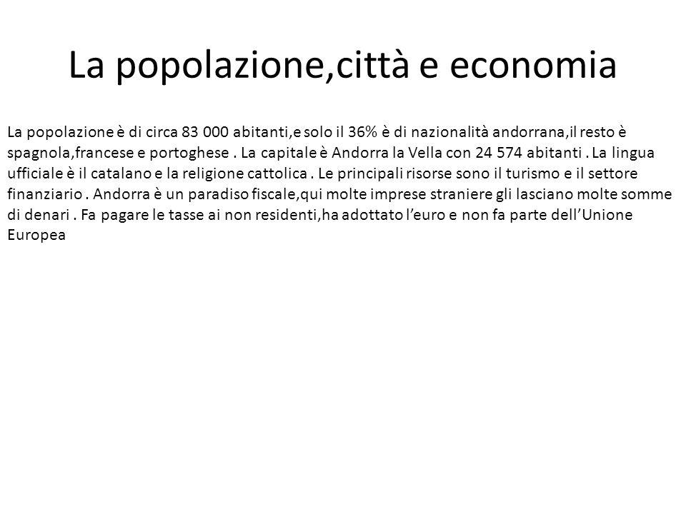 La popolazione,città e economia La popolazione è di circa 83 000 abitanti,e solo il 36% è di nazionalità andorrana,il resto è spagnola,francese e port
