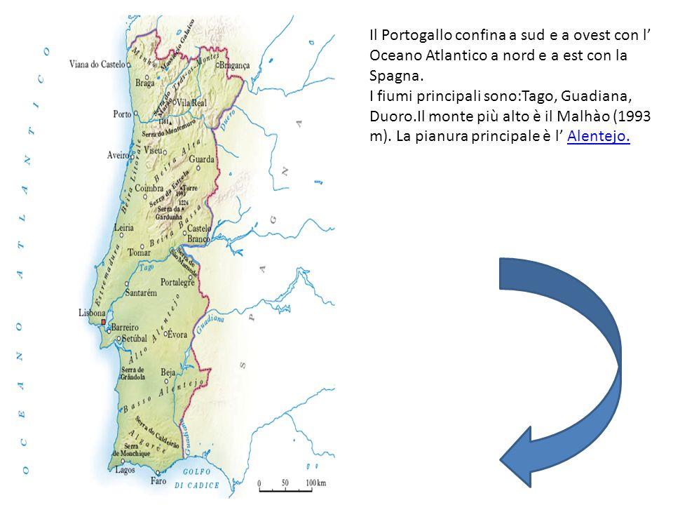 Il Portogallo confina a sud e a ovest con l' Oceano Atlantico a nord e a est con la Spagna. I fiumi principali sono:Tago, Guadiana, Duoro.Il monte più