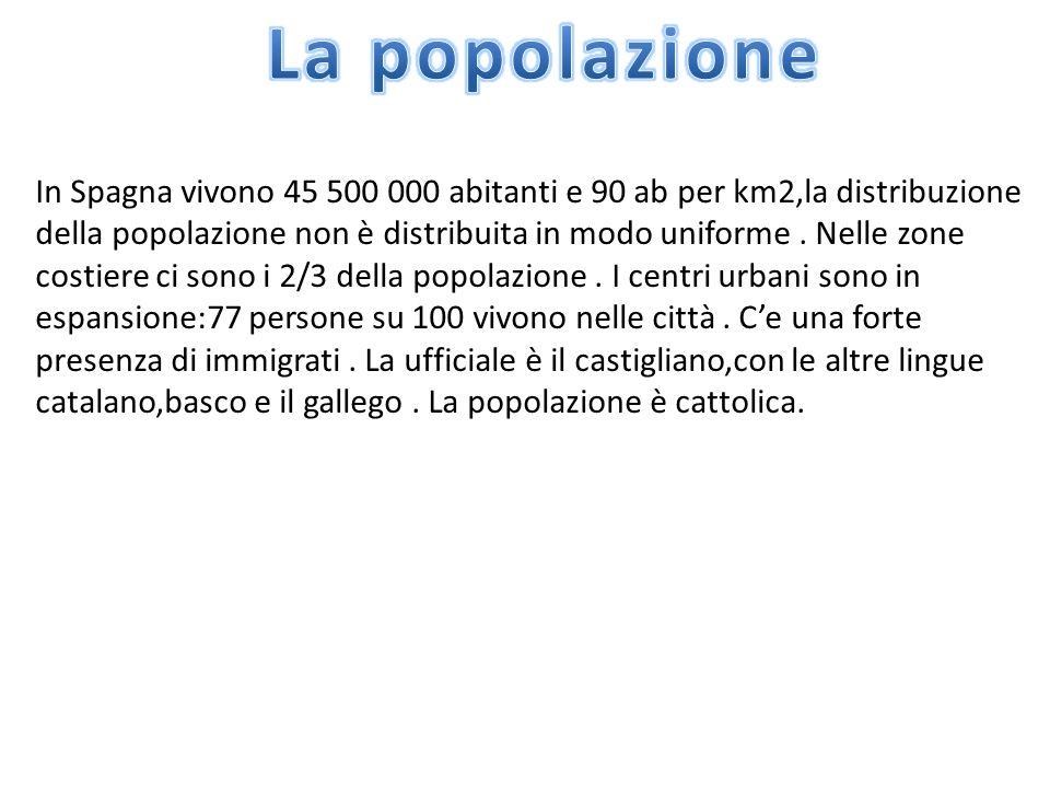 In Spagna vivono 45 500 000 abitanti e 90 ab per km2,la distribuzione della popolazione non è distribuita in modo uniforme. Nelle zone costiere ci son