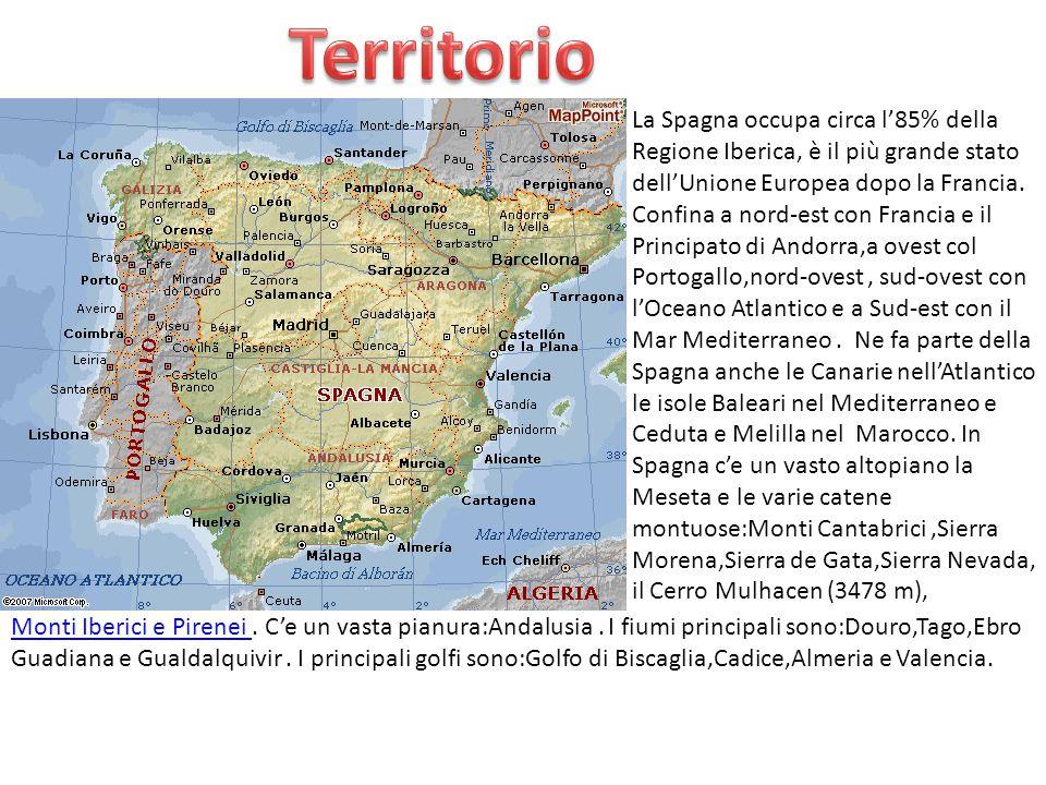 La Spagna occupa circa l'85% della Regione Iberica, è il più grande stato dell'Unione Europea dopo la Francia. Confina a nord-est con Francia e il Pri