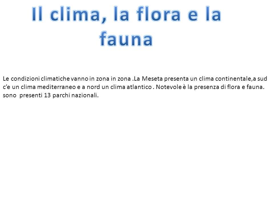 Le condizioni climatiche vanno in zona in zona.La Meseta presenta un clima continentale,a sud c'e un clima mediterraneo e a nord un clima atlantico. N