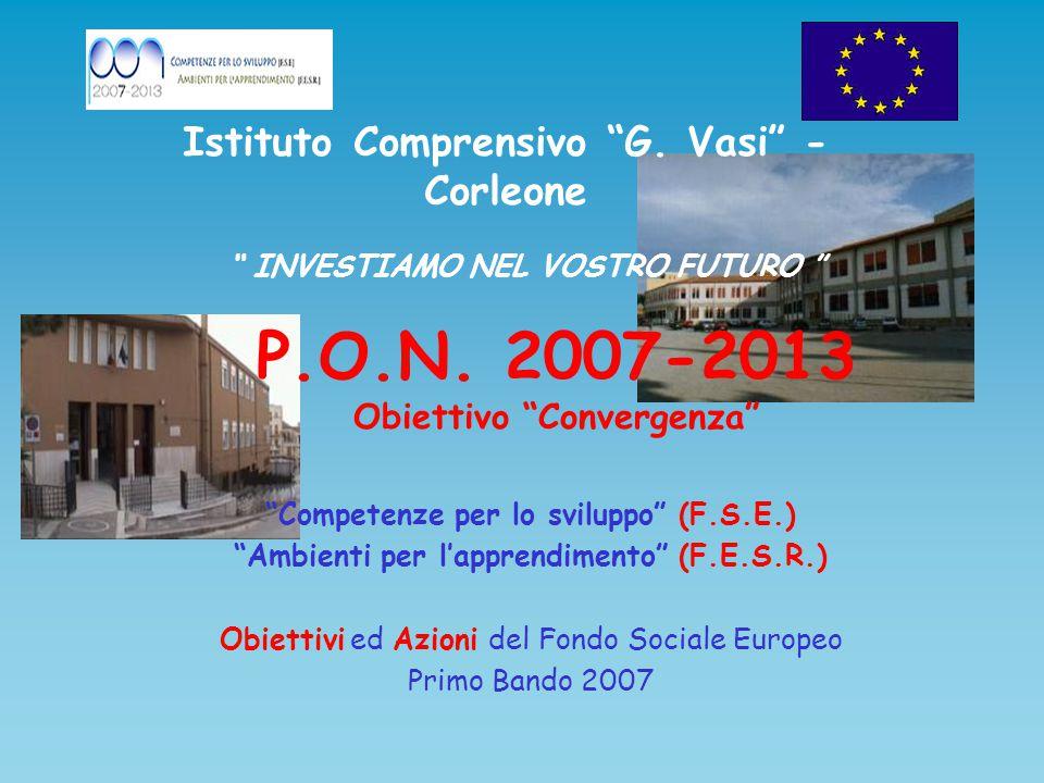 """P.O.N. 2007-2013 Obiettivo """"Convergenza"""" """"Competenze per lo sviluppo"""" (F.S.E.) """"Ambienti per l'apprendimento"""" (F.E.S.R.) Obiettivi ed Azioni del Fondo"""